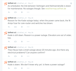 Selfnet eV Twitter response to a service disruption