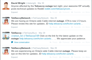 Teksavvy Twitter response to an outage