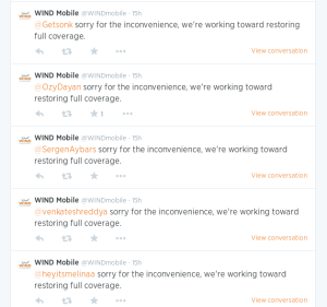 WIND Mobile Twitter responses to annoyed users during the service disruption