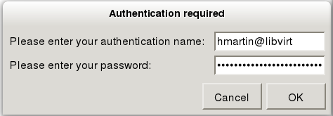 virt-manager user authentication window